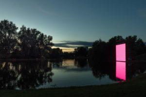 Seasons of Media Arts 2020: Ulf Langheinrich, OSC-K, 2020, See der Günther-Klotz-Anlage Karlsruhe © Ulf Langheinrich, Foto: Elias Siebert