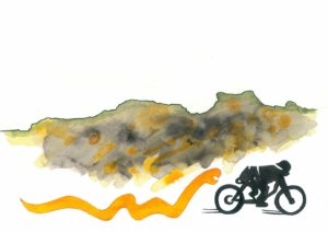 Hermann Härtel, Gustav S., mit dem Zweirad um die Welt, 2020, Mischtechnik auf Papier