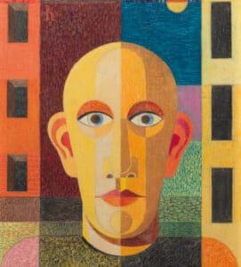 Heinrich Hoerle, Selbstbildnis vor Häusern (Arbeiter), 1932, Von der Heydt-Museum Wuppertal