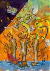 C.L.Attersee, Was ich dir noch schreiben wollte, Mischtechnik auf Papier, 2019-20, 44 x 31,5 cm, © beim Künstler