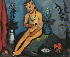 Paula Modersohn-Becker, Sitzender Mädchenakt mit Blumen, 1907, Öltempera auf Leinwand, 89 x 109 cm, Von der Heydt-Museum, Wuppertal © Von der Heydt-Museum Wuppertal