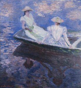 Claude Monet, Sur le batteau (Jeune filles en barque), 1887, Im Boot (Junge Mädchen in Ruderboot), Öl auf Leinwand, 145,5 x 133,5 cm, The National Museum of Western Art, Tokyo. Matsukata Collection